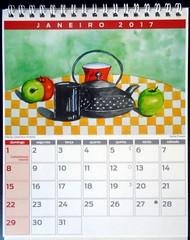 January/Janeiro, Model 01 - DSC00536 (Dona Minúcia) Tags: art painting watercolor study stilllife calendar 2017 arte pintura aquarela naturezaimóvel calendário apple cup teapot mação caneca chaleira