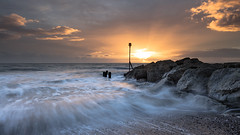 Groin (Chrissphotos) Tags: groin sunset colours wetfeet canoncameraandlens sea rocks movement cold warm