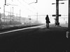 dark silhouette (matthias hämmerly) Tags: silhouette switzerland dark station train waiting woman girl contrast grd grain gritty street candid ricoh wil st gallen