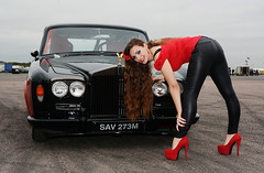 Holly FT   035 (Fast an' Bulbous) Tags: rollsroyce silvershadow drag race car fast speed power turbo british classic vehicle automobile outdoor people girl woman hot hotty sexy chick babe model pinup long brunette hair high heels stilettos shoes red tight black leather pvc jeans leggings