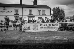 MFAB, June 2015 (ammgramm) Tags: uk england bw white black men sign blackwhite pub women cheshire group drinking naturallight drinks 18mm middlewich canalbank xpro1 fujifilmxpro1 fujinon18mmf2r