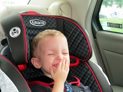 It was his own, private joke that had him laughing. (kennethkonica) Tags: family red people usa black smile face america canon happy toddler midwest mood sitting child hand random indianapolis seat fingers joy indy indiana carseat sit laugh persons seated canonpowershot marioncounty