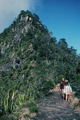 Walking by Mt Cordeaux, 1990 (NettyA) Tags: canon track hiking australia bushwalking qld queensland kodachrome 1990 scannedslide mainrangenationalpark scenicrim 35mmslidefilm cunninghamsgap bushwalker mtcordeaux