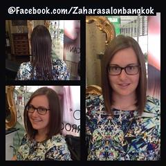 Cut - Women @ Zahara Hair Salon Sukumvit13 ลูกค้าอยากตัดผมสั้นเบาๆ ถ้าหากรู้สึกว่าผมยาวจนเกินไป แล้วอยากเปลี่ยนทรงผม..เริ่มจากการตัดผมบ๊อบ!! ความยาวระดับบ่าก็สวยนะคะ วันนี้สวยขนาดนี้ วันหน้ากลับมาเจอกันอีกครั้งจะสวยขนาดไหน The Zahara Hair Salon ยินดีต้อนร