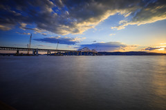 Tappen Zee Bridge (Jemlnlx) Tags: park county new york bridge sunset ny canon river landscape eos is long exposure state mark iii zee filter l 5d hudson usm filters ef f4 stacked graduated density hoya rockland neutral tiffen taipan 1635mm gnd losee d400 nays ndx400