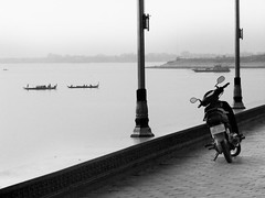 Bike and the Cambodian Bay (shaire productions) Tags: city urban blackandwhite bw abstract water bike photography cambodia pattern picture scooter monotone photograph wharf phnompenh imagery fineartphotography