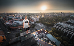 Munich Hotel (Hector Pitt) Tags: city travel roof man fashion architecture sunrise canon project germany munich photography golden photo clothing europe european cityscape view culture 8 sigma hector adventure journey hour 16 mm pitt brew parkour motus brewman storror