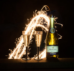 Happy New Year! (~Ranveig Marie~) Tags: stjerneskudd toso champagne drink bottle wine glasses moscato afterdark outside night explore explored