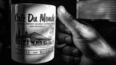 Late day coffee break. (pmpiasecki) Tags: shadows lightandshadow ricohgr ricoh 28mm closeup objects monochrome monotone blackandwhite