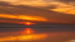 The start of a beautiful sunset (BraCom (Bram)) Tags: bracom sunset zonsondergang clouds wolken sun zon cloud wolk reflection spiegeling silhouette silhouetten lake meer evening avond herkingen grevelingen goereeoverflakkee zuidholland nederland southholland netherlands holland canoneos5dmkiii widescreen canon 169 canonef24105mm bramvanbroekhoven nl