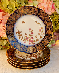 Limoges 19c Porcelain Plates Cobalt ~ Gold Encrusted ~ Butterfly ~ Flowers (Donna's Collectables) Tags: limoges 19c porcelain plates cobalt ~ gold encrusted butterfly flowers