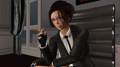 Don't mistake me for someone you can intimidate (alexandriabrangwin) Tags: alexandriabrangwin secondlife 3d cgi computer graphics virtual world photography hugosdesign office boss bosslady dominant powerful woman ceo cigar pose leaning threat dismiss business suit tie glasses hair updo leather fingerless gloves