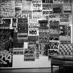 cash4 smells signs (René Sterling) Tags: ilford hp5 800 120 rolleiflex 28 c brooklyn nyc art show 17 frost street gallery cash4 smells
