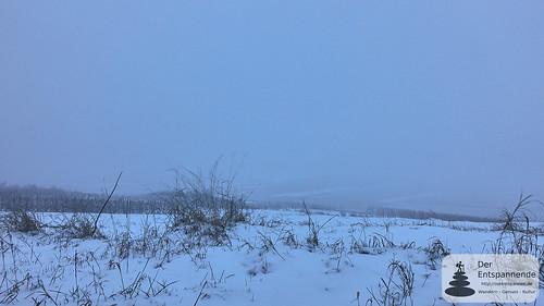 Kein Sonnenaufgang: Schneetreiben überm Selztal