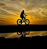 Beach Patrol (Deepgreen2009) Tags: silhouette bicycle beach patrol florida reflection water puddle riding sunset evening