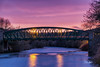 Fatfield Bridge Sunset (robinta) Tags: sunset twilight dusk evening night sky clouds colour colors vibrant bridge architecture water steel arch washington longexposure traffictrails sigma18200mmhsmc pentax ks1 landmark structure robintaylorphotography blur light shadows contrast details texture ngc