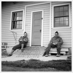 """Enjoying the Sun - 1943"" (photo_secessionist) Tags: soldiers american ww2 yanks 29thdivision reenactor fakevintage rollei frankeheidecke roleiflexnewstandard newmodelk4640 1939 zeiss jena carlzeissf3575mmtessarlens mediumformat 120 6x6 film bw blackwhite vintagecamera analog ilford hp5 selfdeveloped kodak d76 eisenhowernationalhistoricsite gettysburg pennsylvania nationalpark"