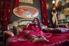 Lost in Arabness (diego_russo) Tags: diegorusso arab arabness style red rosso rojo ruju orrùbiu girl beautiful woman arabic blackeyes ojosnegros feet foot pies piedi fuss bed letto cama egitto egypt misr
