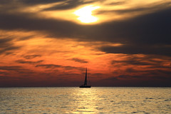 Sailing at sunset today - Tel-Aviv beach 🌊⛵ (Lior. L) Tags: sailingatsunsettodaytelavivbeach🌊⛵ sailingatsunset today telaviv beach sailing sunset silhouette sea seascapes clouds cloudysunset reflection sailboat sail nature awesomenature travel travelinisrael israel