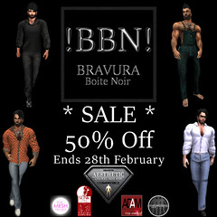 !BBN! 50 Off Sale (!BBN! Bravura Boite Noir - be smart.) Tags: bbn bravura boite noir fashion men man male mesh sl secondlife marty dalglish fitmesh shirt tshirt tee niramythaesthetic tmp slink adam sale