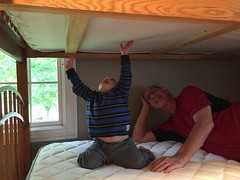 "Paul with Grandpa Miller on His New Bunk Bed • <a style=""font-size:0.8em;"" href=""http://www.flickr.com/photos/109120354@N07/18582570681/"" target=""_blank"">View on Flickr</a>"