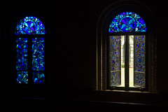 Blue In, Blue Out (brucetopher) Tags: blue light sunlight church window glass abbey architecture religion blues chapel stainedglass leadedglass stainedglasswindow blueglass monastary newenglandarchitecture