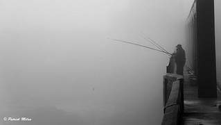 Fisherman in the fog - Paluden bridge Lannilis