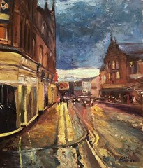 Unity hall view Wakefield (Captain Wakefield) Tags: unity hall wakefield painting yorkshire impressionist art samuel burton contemporary cityscape night buildings theatre royal west hepworth imprsionist dark
