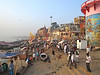 Varanasi - on the banks of the Holy River Ganges. (Mary Faith.) Tags: ganges holy river hindu swim dawn morning sunrise boats people buildings temple architecture historical prayer religion