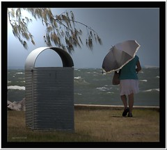 The walker 2.... (agphoto100) Tags: water colour frame canon 30d sun sea brisbane photoshop photoscape day dress umbrella parasol white grass bin rocks elegant agphoto100