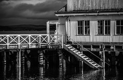 The Steps to...... (GOR44Photographic@Gmail.com) Tags: mono bw pier dunoon scotland gor44 water argyll cowal canon tamron 5d 70300mmf456diusdvc window cloud reflection
