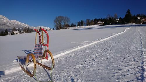 Rodel auf der Loipe der Pension Glitschnerhof in Aigen im Ennstatl in der Steiermark