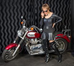 The Speed Mistress! (kaceycd) Tags: crossdress tg tgirl lycra spandex bodysuit leotard miniskirt pantyhose fishnethose boots sexyboots kinkyboots thighboots stilettoboots vinylboots highheels stilettos s