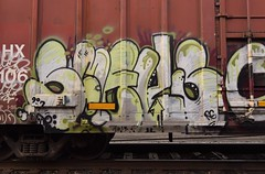 SMELLS (TheGraffitiHunters) Tags: graffiti graff spray paint street art colorful freight train tracks benching benched boxcar smells