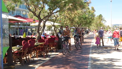 Cycle lane Cala Millor (Jean Bloor) Tags: trees sea restaurants front cala millor cyclistspeoplecyclelanerestaurants