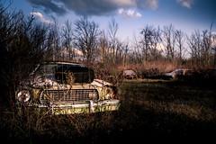 destinations. (jonathancastellino) Tags: leica trees sky ontario tree abandoned graveyard field car ruins decay ruin headlights m summicron vehicle derelict boneyard