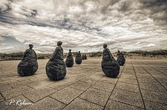 Conversation Piece (Paul Robson 58) Tags: england sculpture pentax sigma 1020 southshields weebles conversationpiece tyneandwear juanmunoz k30 littlehavenbeach bronzefigures wobblymen 22figures