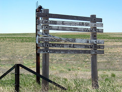 Colorado Sign (Jae at Wits End) Tags: usa green field grass sign yard rural midwest colorado farm country agrarian rustic lawn ruin farmland pasture weathered agriculture plains grassland range turf sod agricultural