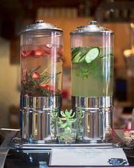 Contrasted Columns (Cody Schroeder) Tags: summer water restaurant strawberry spokane downtown tank asahi takumar bokeh sony cucumber 55mm f2 a7 alpha7