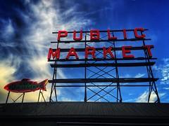 Public Market - iPhone (Jim Nix / Nomadic Pursuits) Tags: seattle travel sign washington neon farmersmarket market pikeplacemarket iphone snapseed