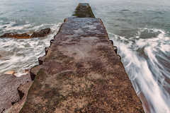 Hendon Beach Long Exposure (robinta) Tags: beach sea seascape hendon sunderland ocean water longexposure tide tidal waves blur surf foam maritime coast coastal seaandsand sand concrete groyne architecture metal corroded rust colour colors symmetrical patterns england pentax sigma18200mmhsmc ks1 robintaylorphotography contrast texture details stone ngc