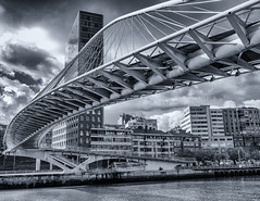 The slippery bridge (katrin glaesmann) Tags: bilbao bilbo basquecountry spain bizkaia zubizuri campovolantinbridge puentedelcampovolantin nervionriver santiagocalatrava monochrome blackandwhite