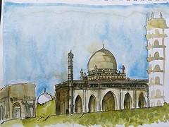 Mosque by the Gol Gumbaz (Mallika_Mohini) Tags: urbansketching history india bijapur mosque gol gumbaz islamic architecture