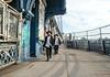 Crossing the Manhattan Bridge (UrbanphotoZ) Tags: manhattanbridge men crossing hasidic hasidim sukkot lulav etrog footpath graffiti tower fence pedestrians lowereastside manhattan brooklyn newyorkcity newyork nyc ny