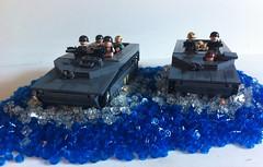 The Herd Moves In (tyfighter07) Tags: blue light water usmc us buffalo lego m1 wwii helmet corps marines marinecorps stud studs lightblue moc lvt lvt4 m1pothelmet brickbuilder7