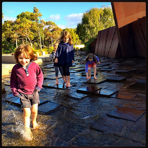 177/365 • Quick! The sun came back out!! • #177_2015 #steppingstones #cranbourne #friends #Winter2015 #paddling #outside