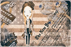 NYC (Swissrock-II) Tags: collage nyc girl photoshop photoart photomanipulation photoshopart digitalart lightroom flag usa december 2016 newspaper texture