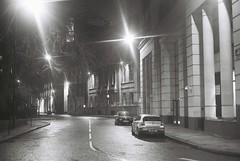 London At Night (goodfella2459) Tags: nikon f4 af nikkor 50mm f14d lens ilford delta 400 35mm black white film analog london night street car lights milf city bwfp