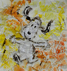 Think Happy Thoughts! (BKHagar *Kim*) Tags: bkhagar art artwork painting paint acrylic scrunch dog happy notforsale remindsmeofsnoopy sunflowercolors getwellsoon
