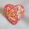 Heart brooch - embroidered felt - orange and yellow (Lynwoodcrafts) Tags: heartbrooch feltbrooch embroideredfelt orange yellow embroideredbrooch textilebrooch embroideredjewellery textilejewellery